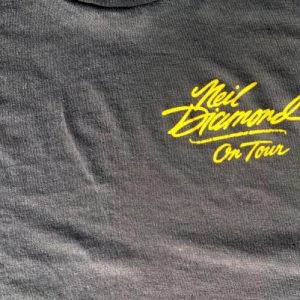 Vintage 1980s Black Neil Diamond On Tour Concert T-Shirt M