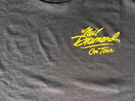 Vintage 1980s Black Neil Diamond On Tour Concert T-Shirt M