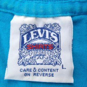 Vintage 1991 Aqua Blue Levis 501 Blue Jeans Cotton T-Shirt L
