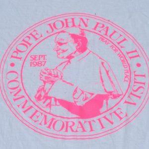 Vintage 1980s White Pope John Paul 1987 Tour Cotton T Shirt