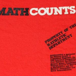 Vintage 1980s Math Counts Mathletics Red Cotton T Shirt M
