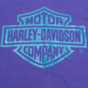 Vintage 1990s Purple Harley Davidson Credit Cotton T Shirt L