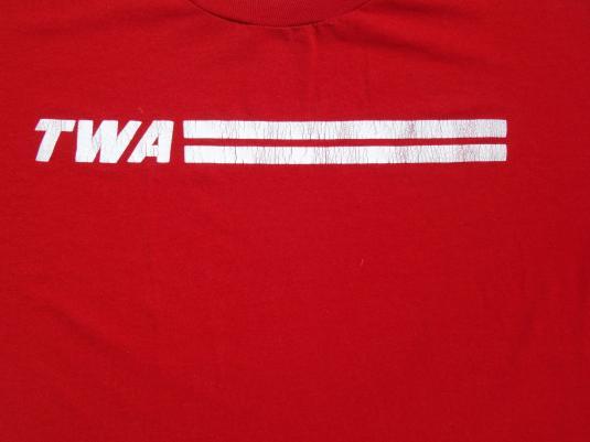 Vintage 1980s TWA Trans World Airlines Logo T Shirt L