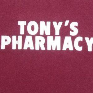 Vintage 1980s Tony's Pharmacy Burgundy Baseball T-Shirt S