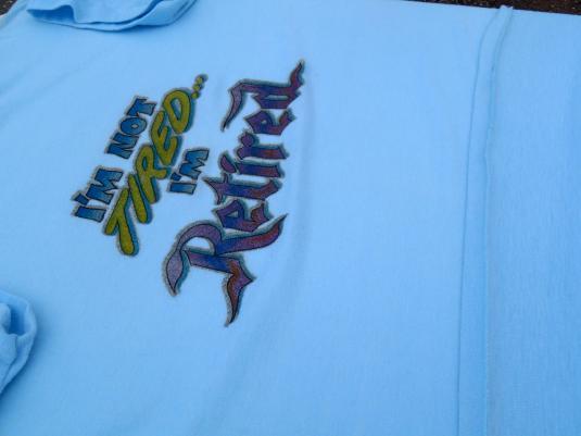 Vintage 1980s Light Blue Retired Iron On Transfer T-Shirt S/M