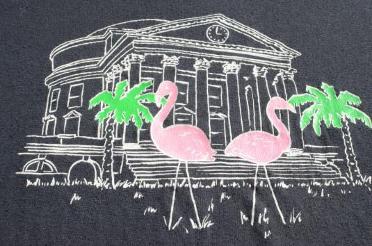 Vintage 1980s Flamingos Black T Shirt L/XL