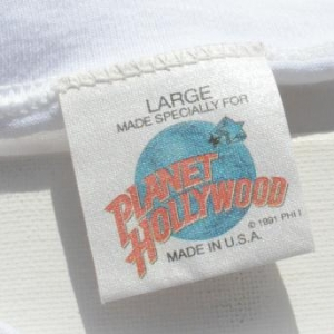 Vintage 1990s Planet Hollywood White Souvenir T-Shirt L/XL