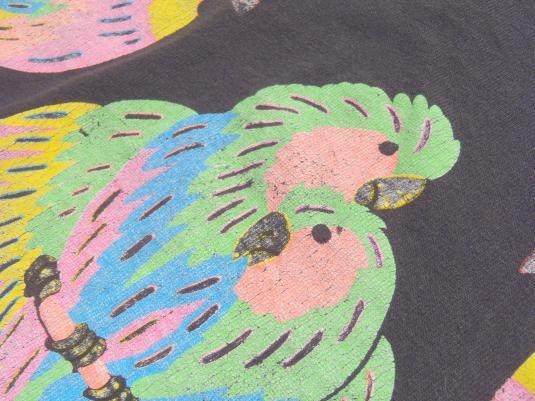 Vintage 1980s Black Parrot Collar Cotton T-Shirt XL