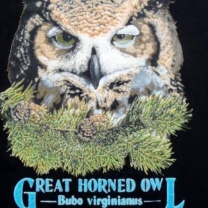 Vintage 1991 Black Great Horned Owl Cotton T Shirt L