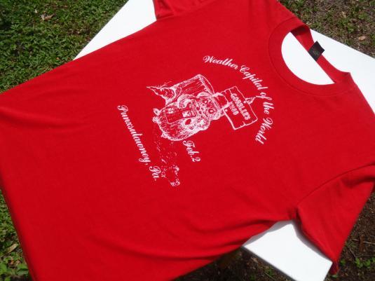 Vintage 1980s Punxutawney Phil Groundhog Day Red T Shirt M/L