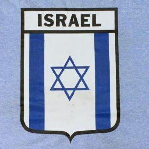 Vintage 1970s Israel Flag Star of David Blue Ringer T-Shirt