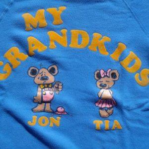 Vintage 1980s Grandkids Teddy Bear Flock Letters Sweat Shirt
