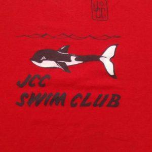 Vintage 1980s JCC Swim Club Whale Red T-Shirt S/M