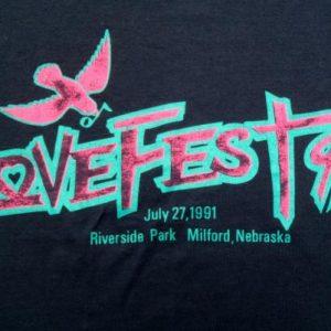 Vintage 1990s Love Fest 1991 Black Concert T-Shirt L