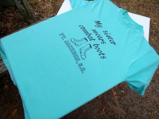 Vintage 1980s Light Blue Fort Jackson Combat Boots T-Shirt M