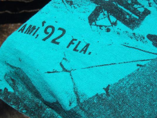 Vintage 1990s Hurricane Andrew Green Allover Print T-Shirt L