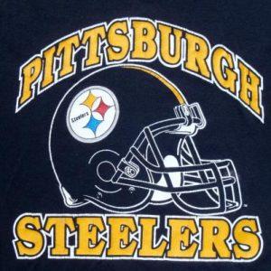 Vintage 1980s Black Pittsburgh Steelers NFL Throwback T Shirt L/XL