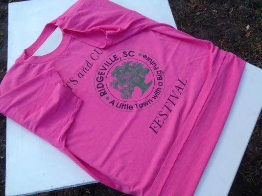 Vintage 1990s Ridgeville SC Arts Culture Fest Pink T Shirt L