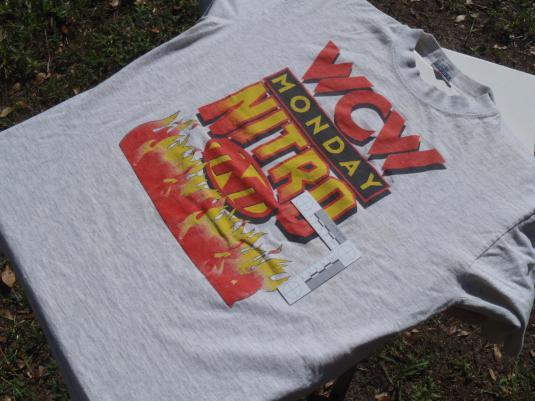 Vintage 1998 WCW Monday Nitro TNT Wrestling Gray T Shirt L