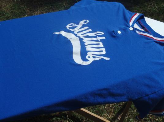 Vintage 1980s Blue Sultans Baseball Henley Jersey T-Shirt XXL