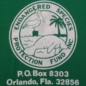 Vintage 1980s Endangered Species Protection Green T-Shirt XL
