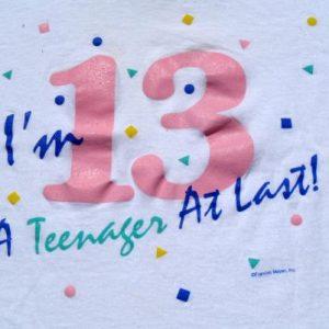 Vintage 1980s 13 Teenager At Last White Souvenir T-Shirt XL
