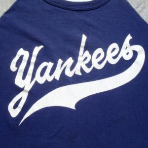 Vintage 1980s Blue and Gray New York Yankees Jersey T Shirt