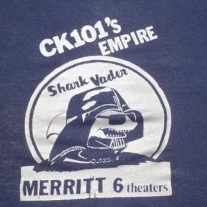 Vintage 1981 Navy Blue Shark Vader Star Wars Promo T Shirt S