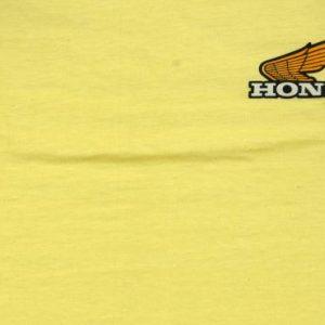 Vintage 1980 Honda Custom Motorcycle Yellow Cotton T Shirt M