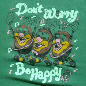 Vintage 1980s Dont Worry Be Happy Green T Shirt L