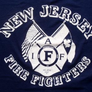 Vintage 1980s New Jersey Firefighters Union Navy T-Shirt L