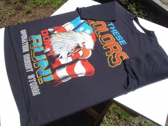 Vintage 1990s Desert Storm Patriotic Eagle Black T-Shirt M