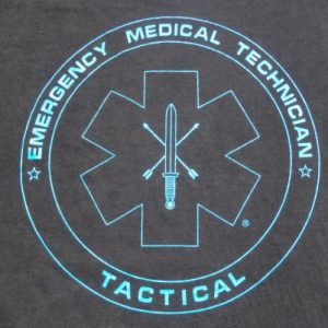 Vintage 1990s EMT Tactical Black Cotton T-Shirt L