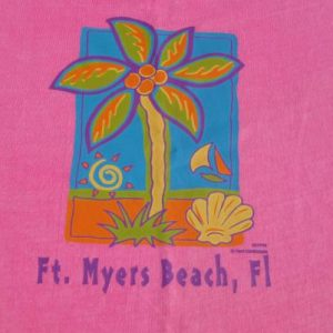 Vintage 1990s Acid Washed Fort Myers FL Souvenir T Shirt L