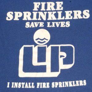 Vintage 1980s Fire Sprinklers Save Lives Blue T-Shirt L
