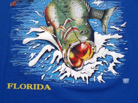 Vintage 1990s Bass Fishing Florida Blue Tourist T Shirt XL