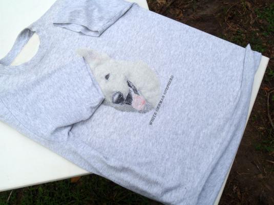 Vintage 1980s White German Shepherd Heather Gray T-Shirt L