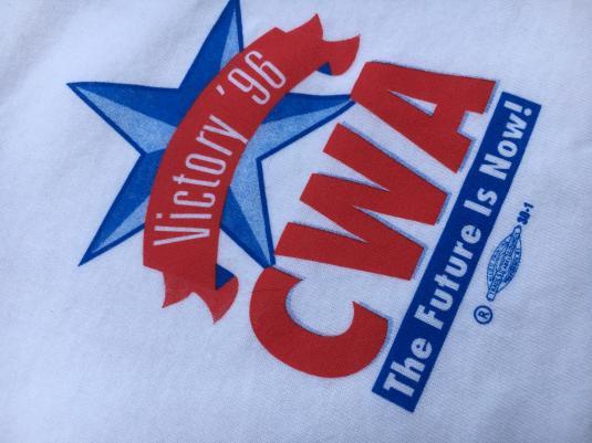 Vintage 1996 Clinton Gore CWA Union White Political T-Shirt XL
