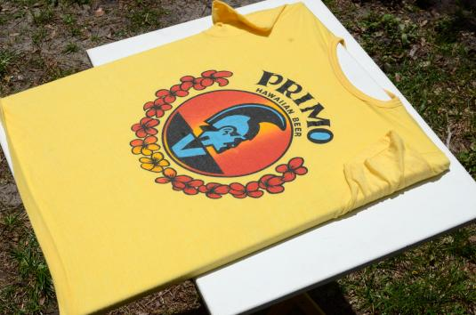 Vintage 1970s Primo Beer Hawaii Yellow Tourist T ShirtS/M