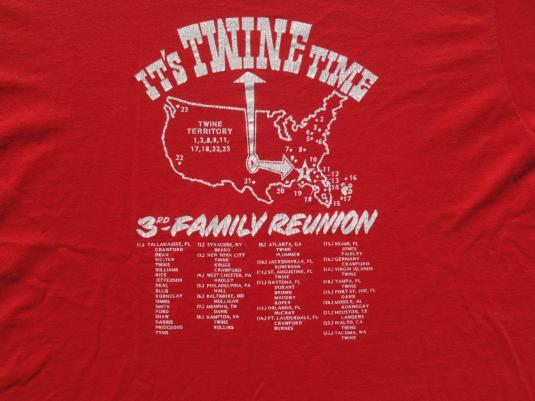 Vintage 1980s Twine Time Family Reunion Red T-Shirt L
