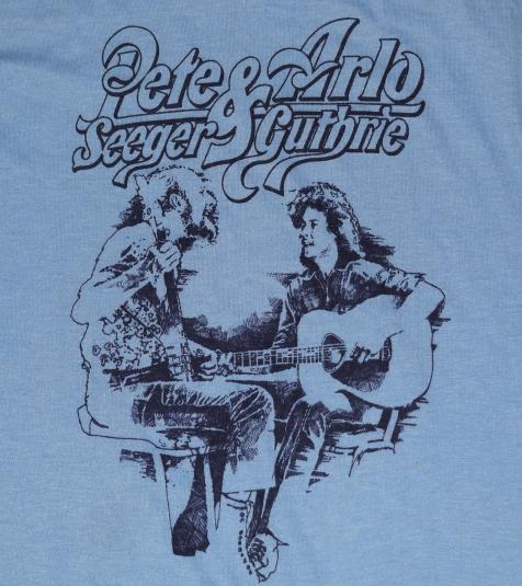 Vintage 1970s Arlo Guthrie & Pete Seeger Blue T-Shirt