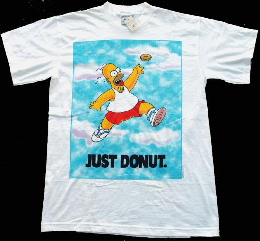 Vintage 1990s Homer Simpson Just Donut Nike Style T-Shirt