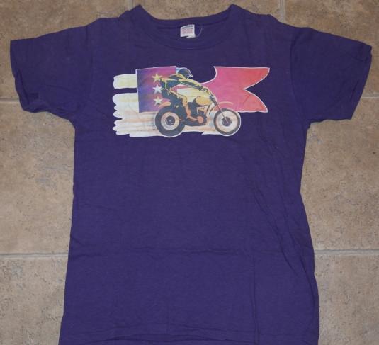 Vintage 1970s Kawasaki Motorcycle Biker Iron On T-Shirt