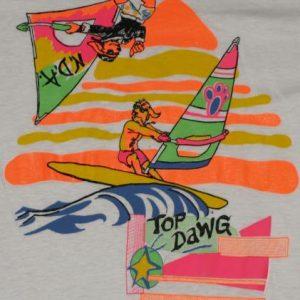 Vintage 1980s NDA Surf Surfing Top Dawg Windsurfing T-Shirt