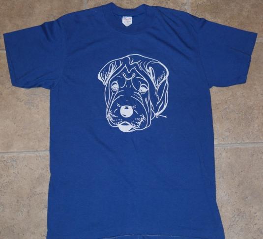 Vintage 1980s Shar Pei Puppy Dog Tee T-Shirt Blue