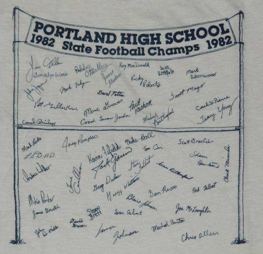 VTG 1982 PORTLAND MAINE Football Championship T-Shirt 1980s