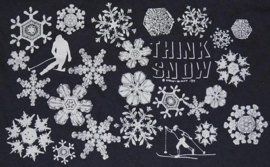 VTG 1970s Think Snow Skier Skiing Ski Snow Snowflake T-Shirt