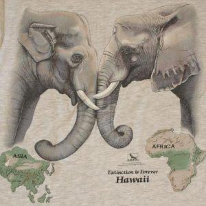 1990s Asia Africa Elephant Hawaii T-Shirt 2-Sided