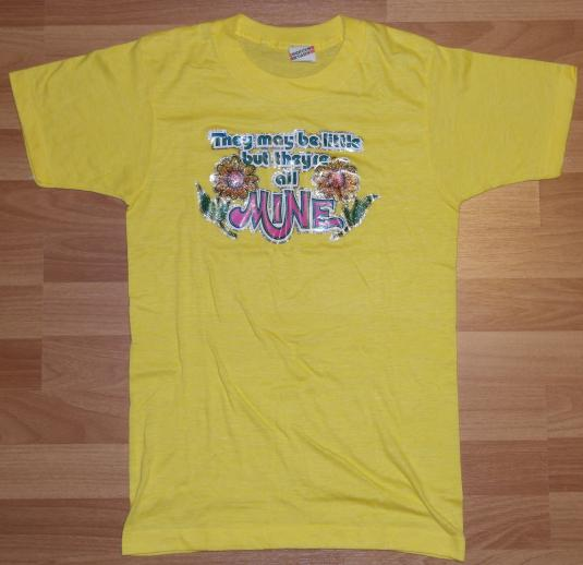 VTG 1980s Glitter Iron On Small Breasts T-Shirt NEVER WORN