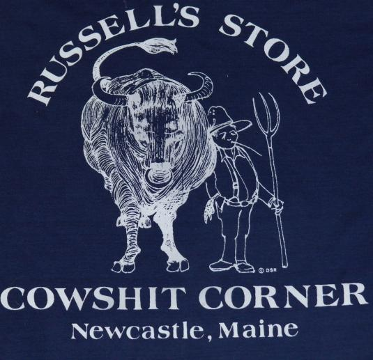 Vintage 1980s COWSHIT CORNER MAINE T-Shirt Funny 80's